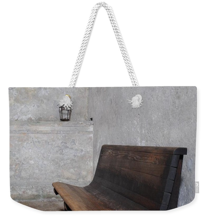 Castillo Weekender Tote Bag featuring the photograph The Bench by Jost Houk