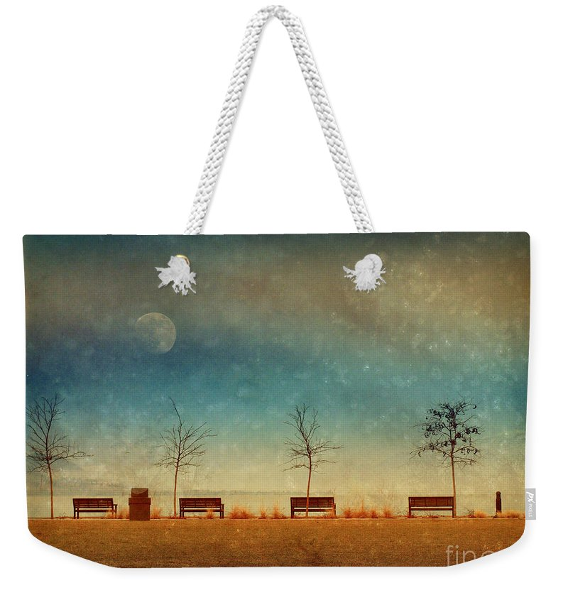 Moon Weekender Tote Bag featuring the photograph The Benches By The Moon by Tara Turner