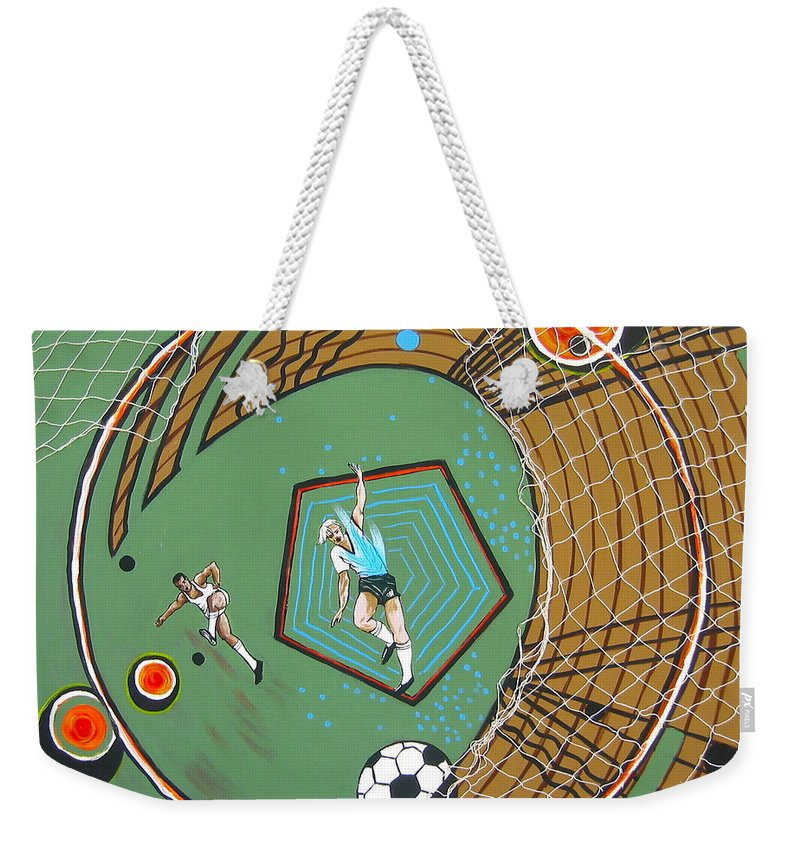 Abstract Sports Weekender Tote Bag featuring the painting The Big Kick by V Boge