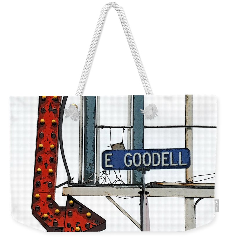 East Goodell Ave Weekender Tote Bag featuring the photograph Big Red Arrow by Sandra Church