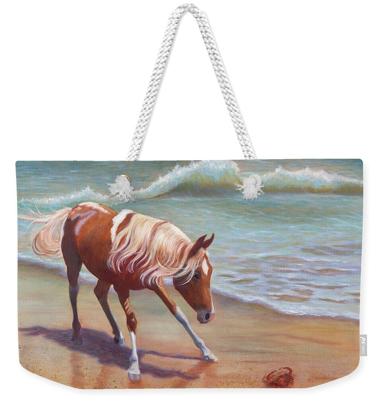Animals Weekender Tote Bag featuring the painting The Big Standoff by Brenda Griffin