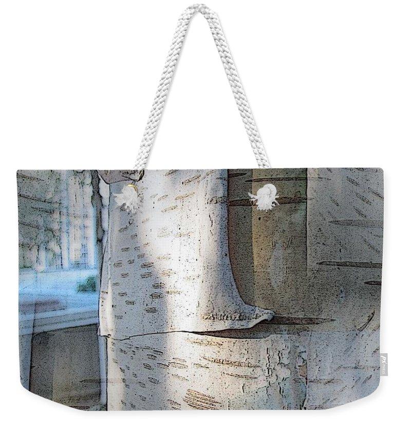 Birch Weekender Tote Bag featuring the digital art The Birch by Tim Allen