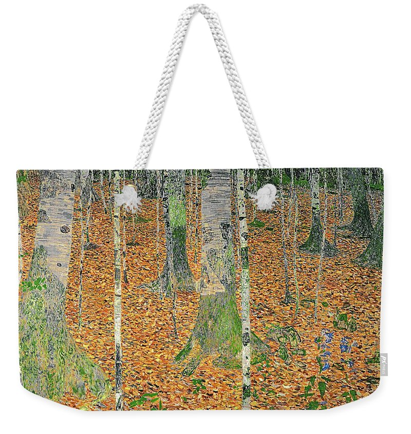 efc3abdd12 The Weekender Tote Bag featuring the painting The Birch Wood by Gustav Klimt