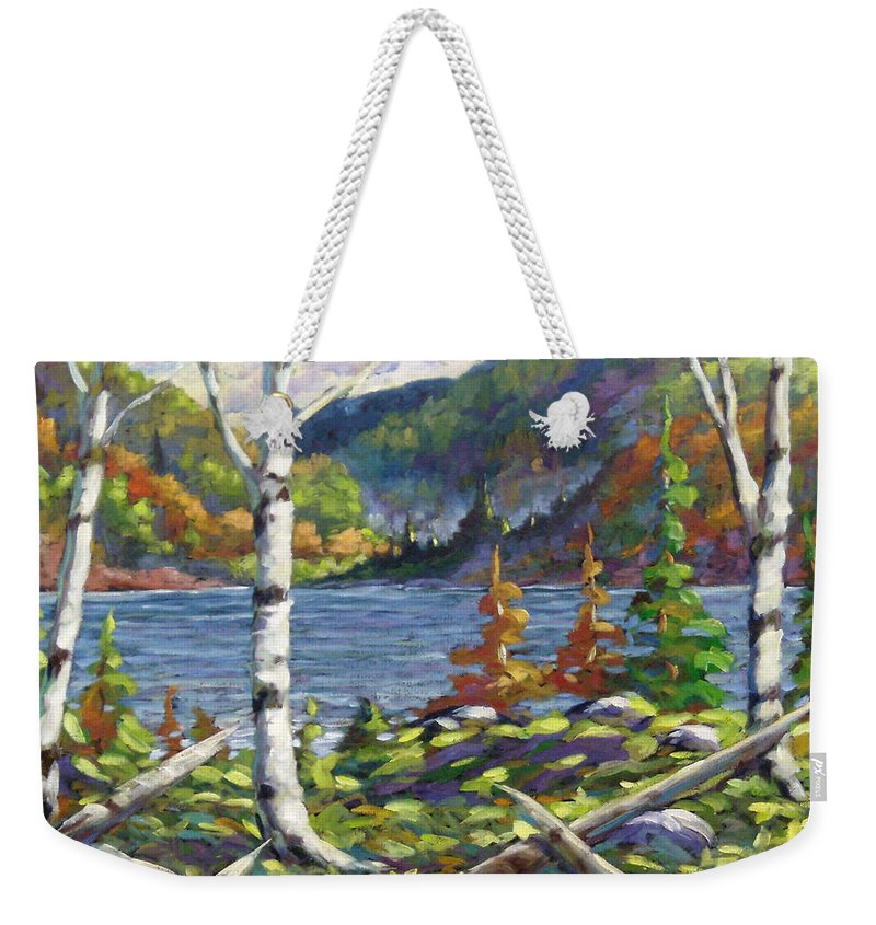 Art Weekender Tote Bag featuring the painting The Birches by Richard T Pranke