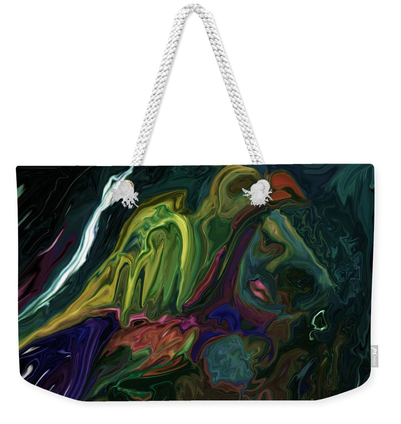 Abstract Weekender Tote Bag featuring the digital art The Bird Man by Rabi Khan