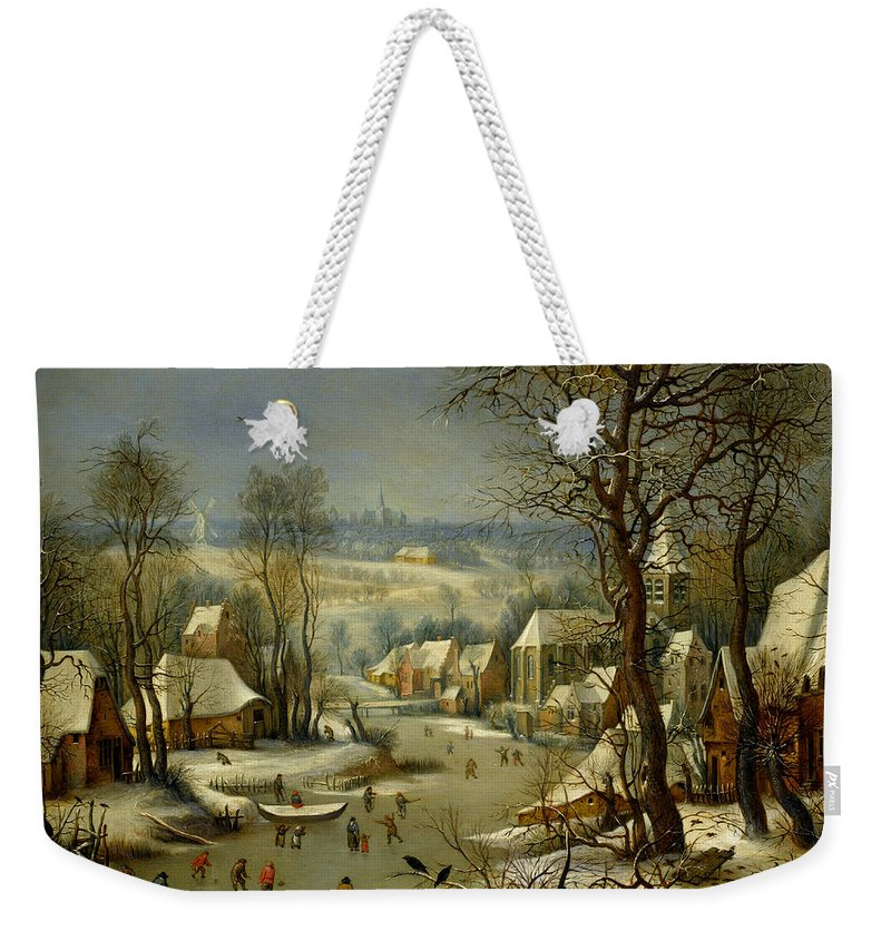 Pieter Weekender Tote Bag featuring the painting The Bird Trap by Antwerp School 17th century after Pieter Brueghel the Younge
