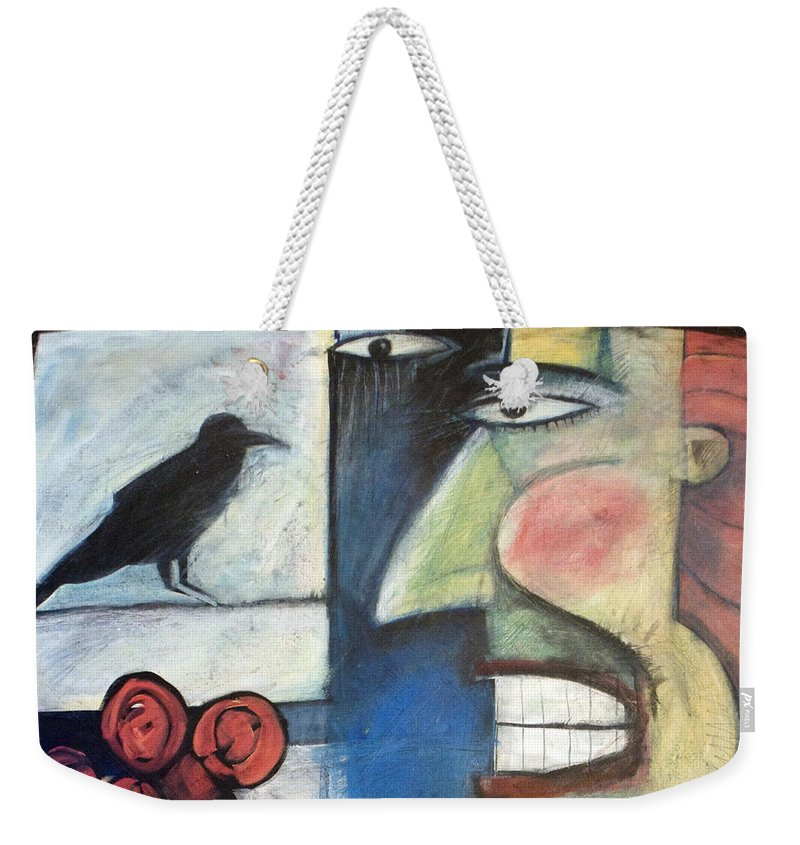 Bird Weekender Tote Bag featuring the painting The Bird Watcher by Tim Nyberg