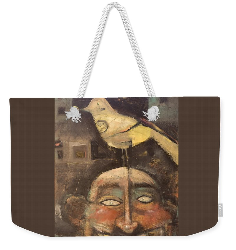 Bird Weekender Tote Bag featuring the painting The Birdman Of Alcatraz by Tim Nyberg