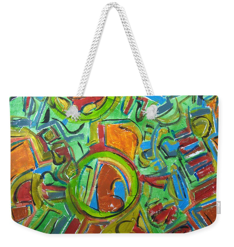 Abstract Weekender Tote Bag featuring the painting The Birdman by Robert Dalton