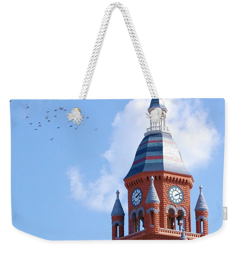 Clock Weekender Tote Bag featuring the photograph The Birds by Debbi Granruth