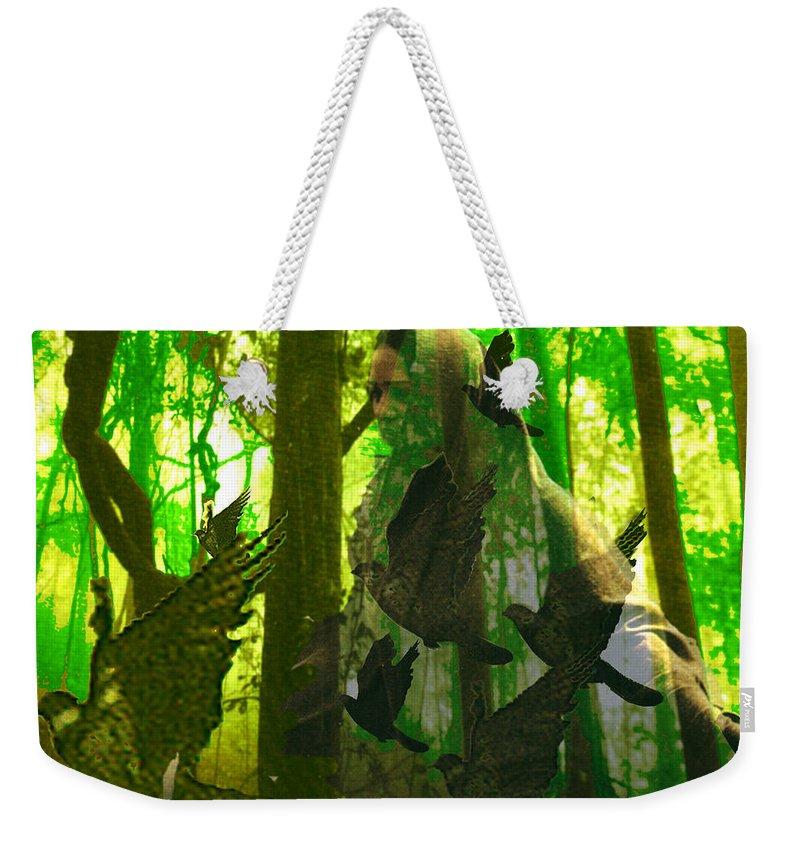 Birdwoman Weekender Tote Bag featuring the digital art The Birdwoman by Seth Weaver