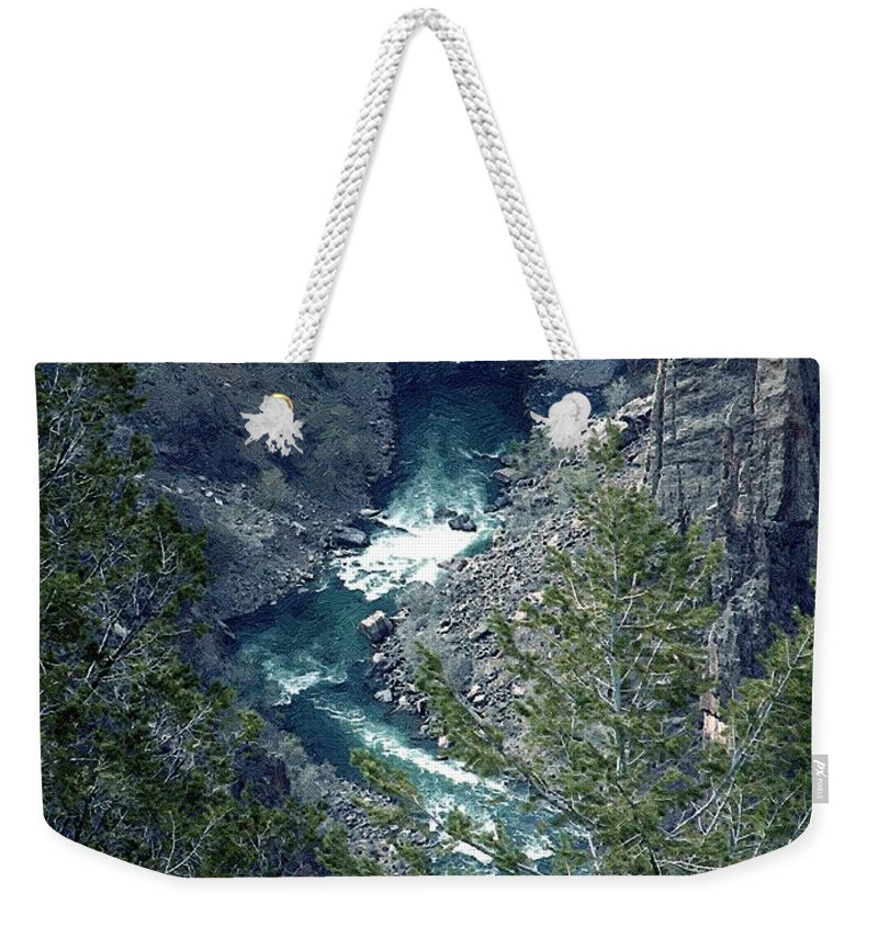 Canyon Weekender Tote Bag featuring the painting The Black Canyon Of The Gunnison by RC DeWinter