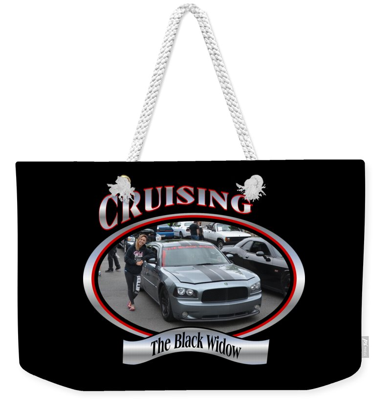 The Weekender Tote Bag featuring the photograph The Black Widow Butterfield by Mobile Event Photo Car Show Photography