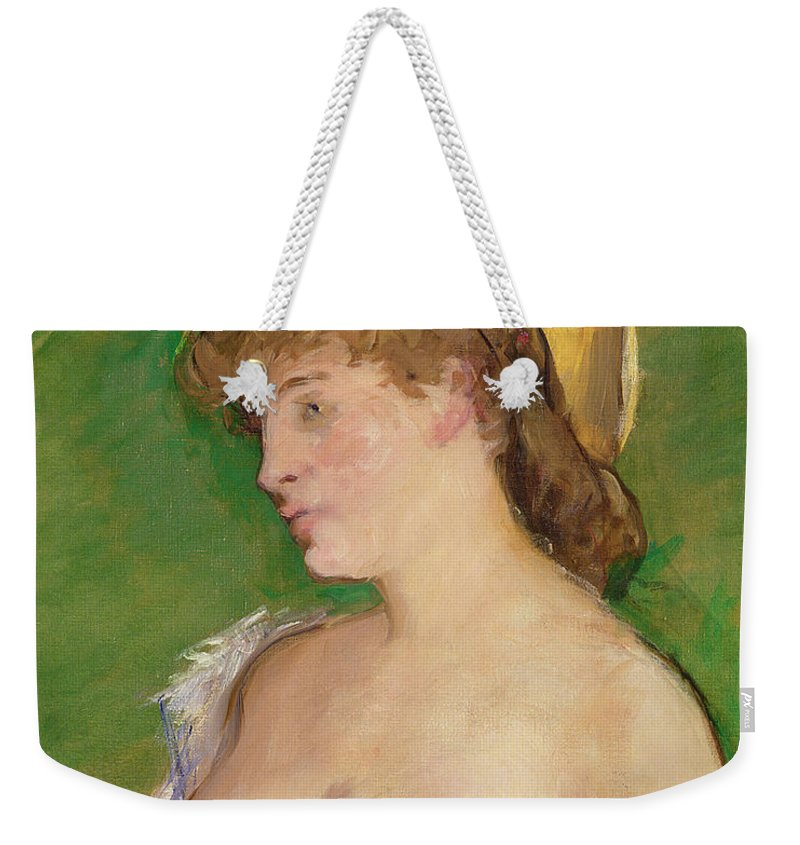 The Weekender Tote Bag featuring the painting The Blonde With Bare Breasts by Edouard Manet