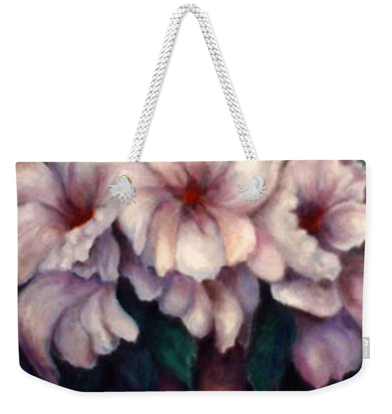 Blue Flowers Weekender Tote Bag featuring the painting The Blue Flowers by Jordana Sands