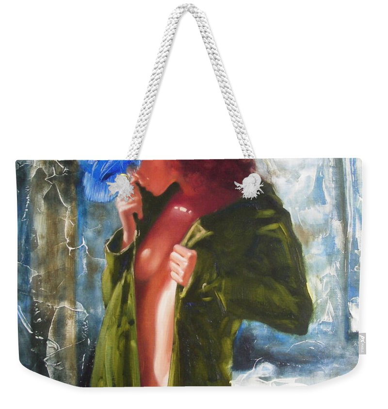 Art Weekender Tote Bag featuring the painting The blue hat by Sergey Ignatenko