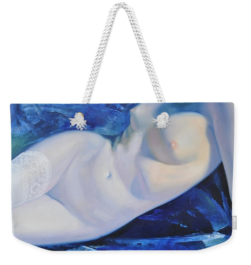 Art Weekender Tote Bag featuring the painting The blue ice by Sergey Ignatenko