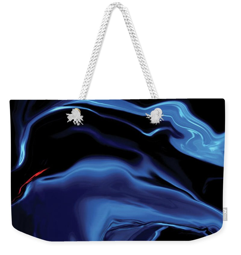 Abstract Weekender Tote Bag featuring the digital art The Blue Kiss by Rabi Khan