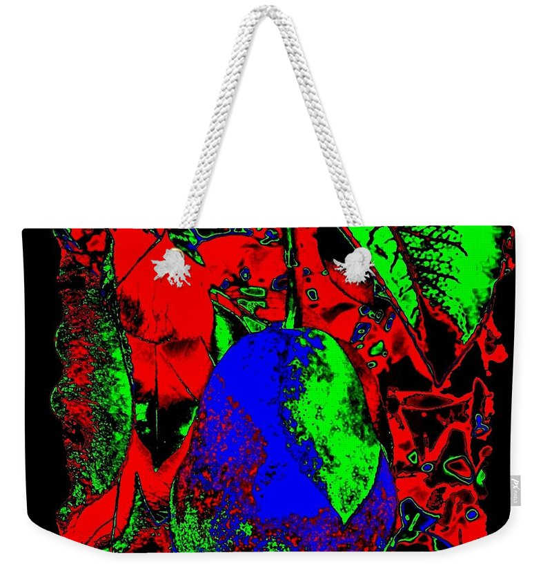 Abstract Weekender Tote Bag featuring the digital art The Blue Pear by Will Borden