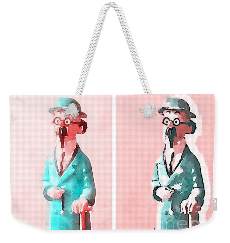 Professor Weekender Tote Bag featuring the painting The Blue Professor by Helge