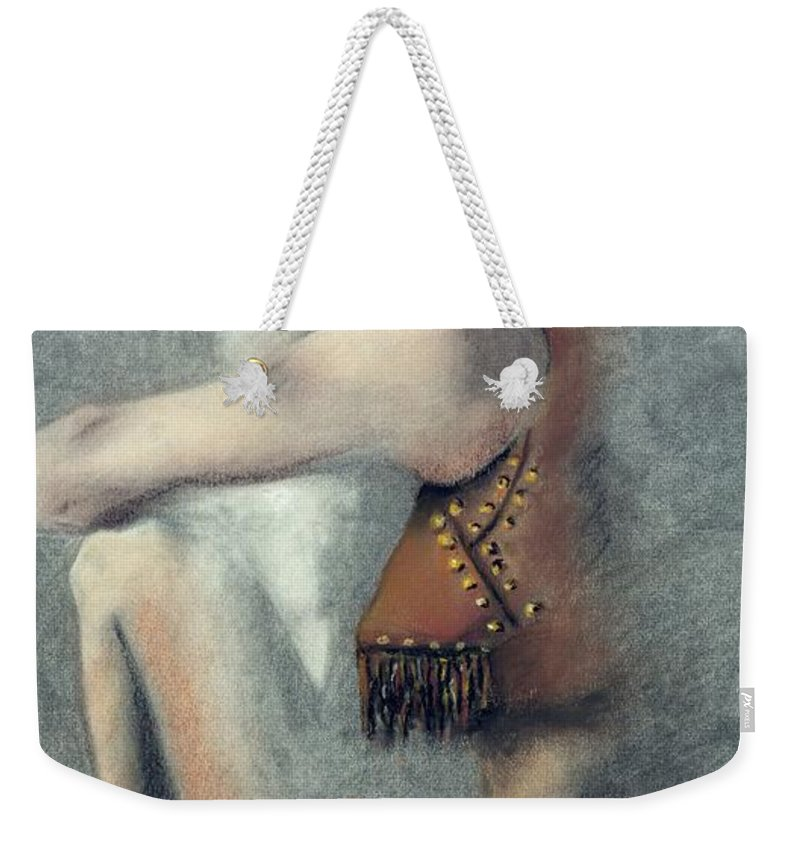 Cowgirls Weekender Tote Bag featuring the drawing The Blue Stetson by Frances Marino