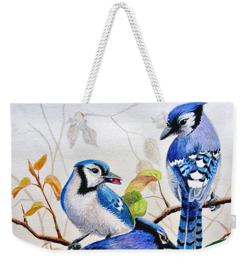 Bluejays Weekender Tote Bag featuring the drawing The Blues by Marilyn Smith