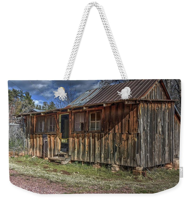 Structure Building Cabin Bunk House Boars Nest Old Aged Decayed Deteriorated Abandoned Private History Memories Stories Landscape Nature Grass Trees Sky Clouds Color Red Green Blue Hdr Pine Northern Arizona Weekender Tote Bag featuring the photograph The Boars Nest by Thomas Todd