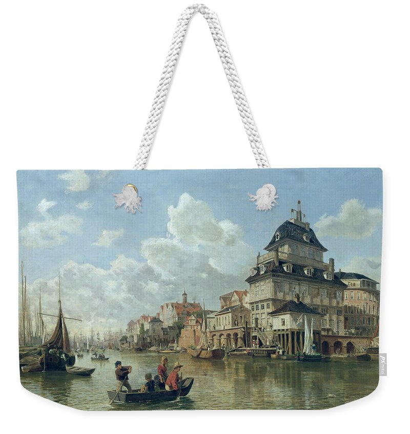 The Weekender Tote Bag featuring the painting The Boat House At Hamburg Harbour by Valentin Ruths