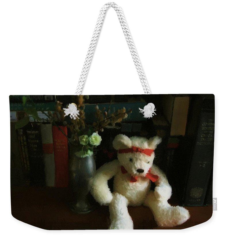 Bear Weekender Tote Bag featuring the digital art The Book Bear by RC DeWinter
