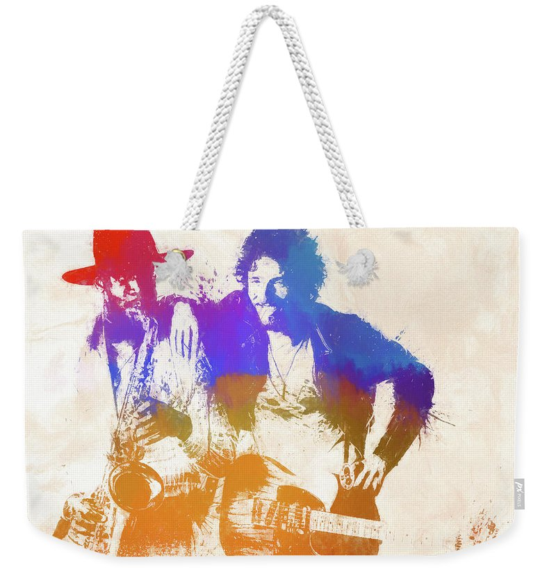 Bruce And The Big Man Weekender Tote Bag featuring the painting The Boss And The Big Man by Dan Sproul