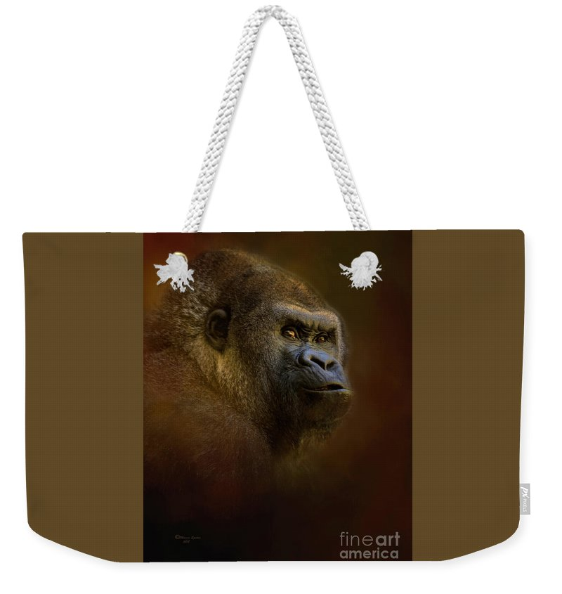 Gorilla Weekender Tote Bag featuring the mixed media The Boss by Marvin Spates