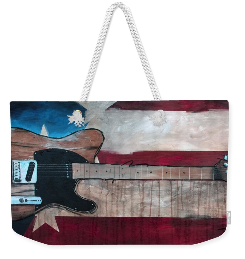 Bruce Springsteen Weekender Tote Bag featuring the painting The Boss by Sean Parnell