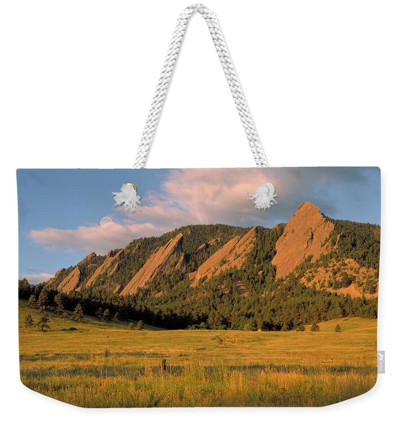 Boulder Weekender Tote Bag featuring the photograph The Boulder Flatirons by Jerry McElroy