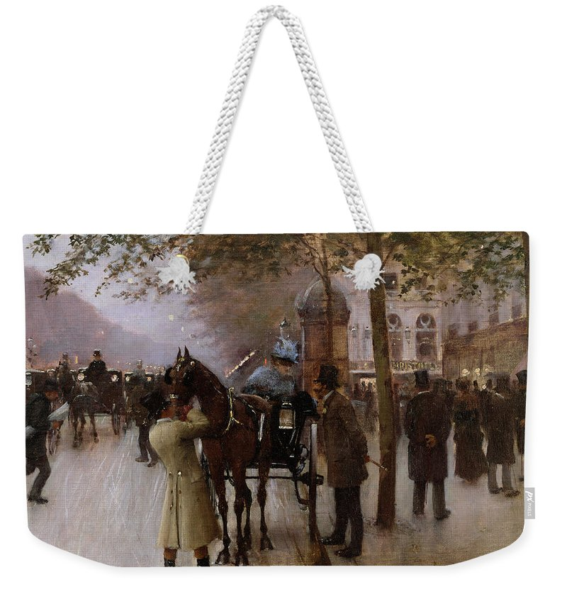 Traffic Weekender Tote Bag featuring the painting The Boulevards by Jean Beraud