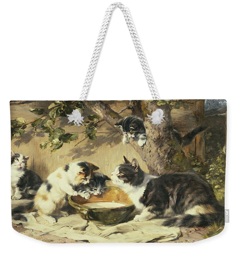 Cat Weekender Tote Bag featuring the painting The Bowl Of Milk by Julius Adam