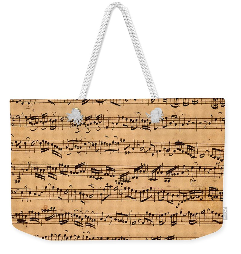 Music; Musician; Score; Composition; Composer; Classical Music; Baroque; Notes; Note; Notation; Handwritten; Manuscript; Handwriting; First Violin Weekender Tote Bag featuring the drawing The Brandenburger Concertos by Johann Sebastian Bach