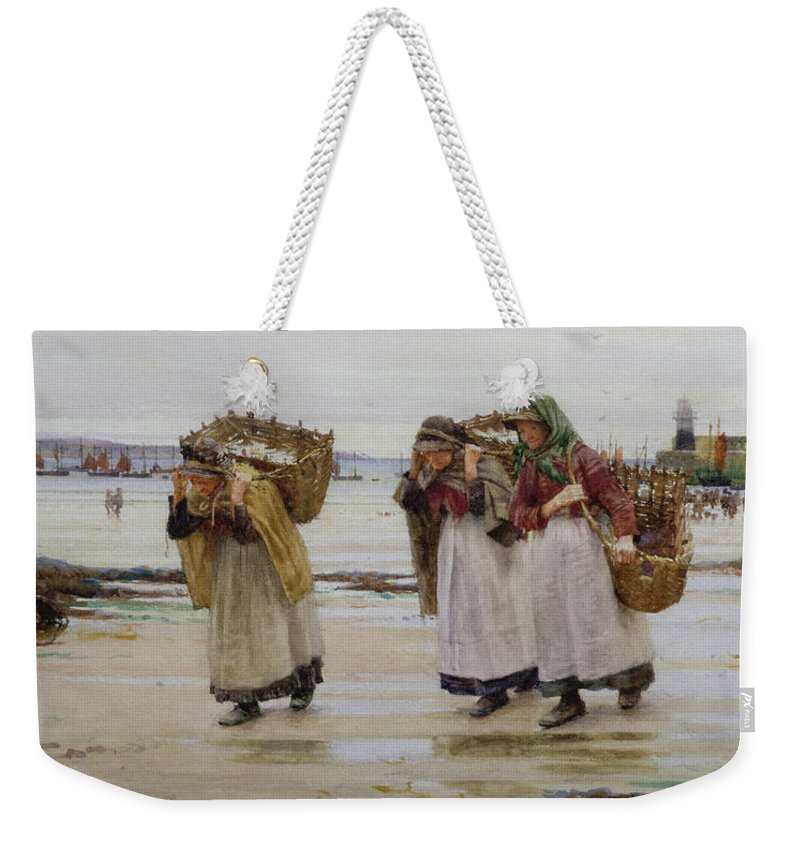 Signed Weekender Tote Bag featuring the painting The Breadwinners Or Newlyn Fishwives by Walter Langley