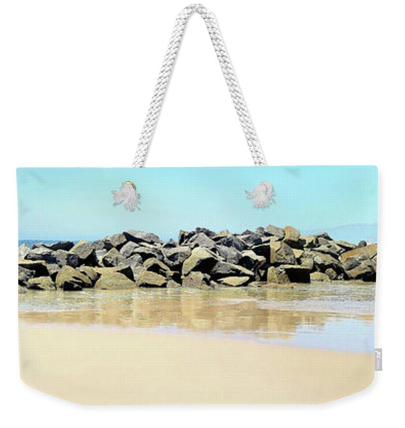 Breakwater; Venice Beach; Santa Monica; Santa Momica Bay; Rocks; Waves; Pacific Ocean; Sand; Beach; Wet Sand; Brown; Blue; California; Joe Lach Weekender Tote Bag featuring the photograph The Breakwater by Joe Lach