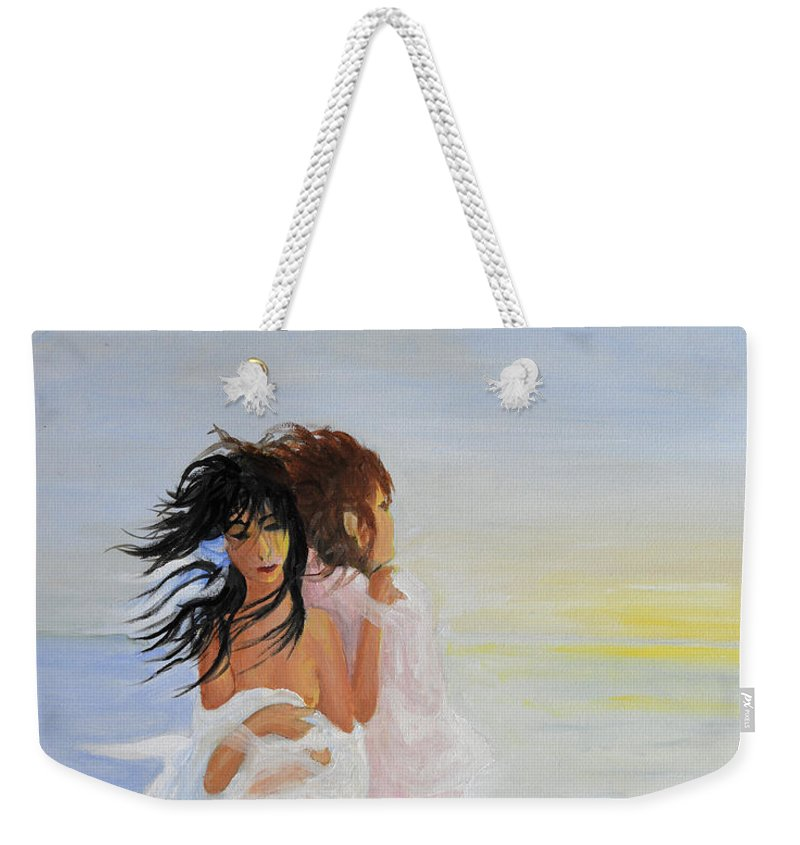 Breeze Weekender Tote Bag featuring the painting The Breeze - La Brezza by Vanda Caminiti