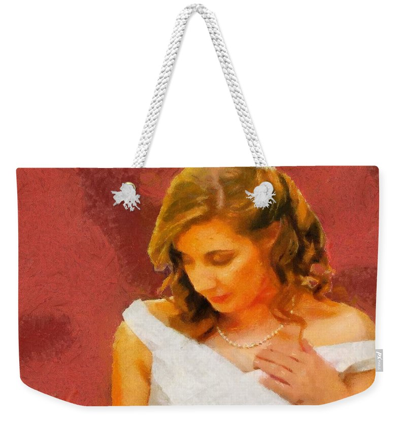 Wedding Weekender Tote Bag featuring the painting The Bride To Be by Jeffrey Kolker