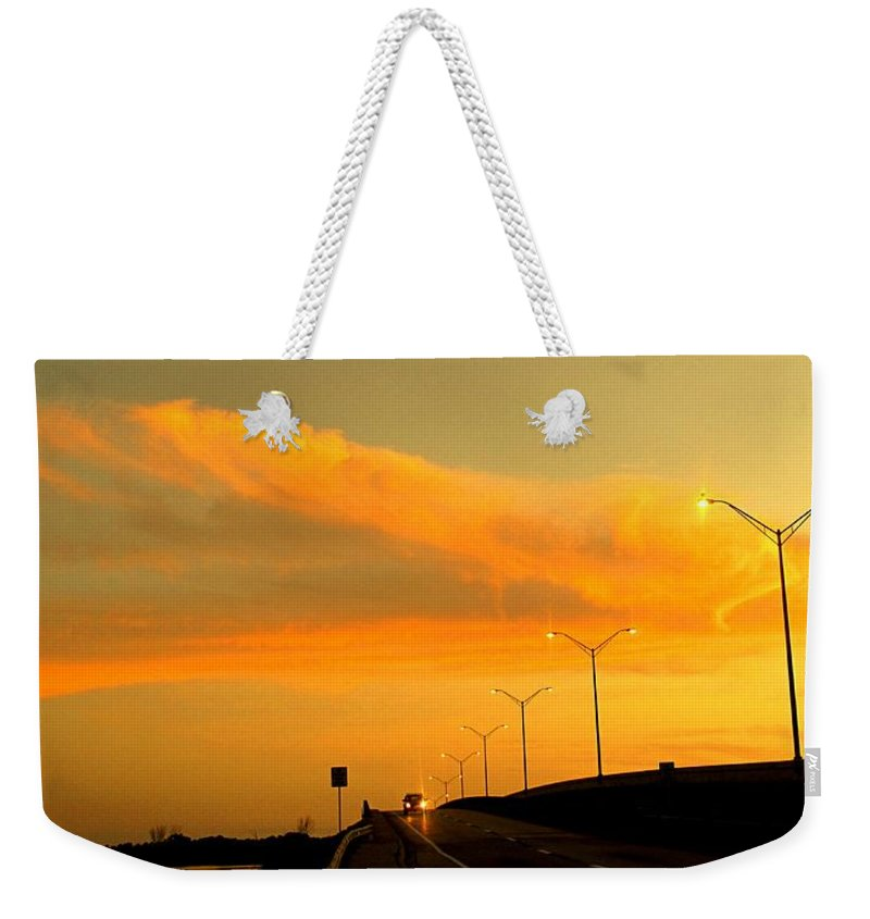 Sunset Weekender Tote Bag featuring the photograph The Bridge At Sunset by Ian MacDonald