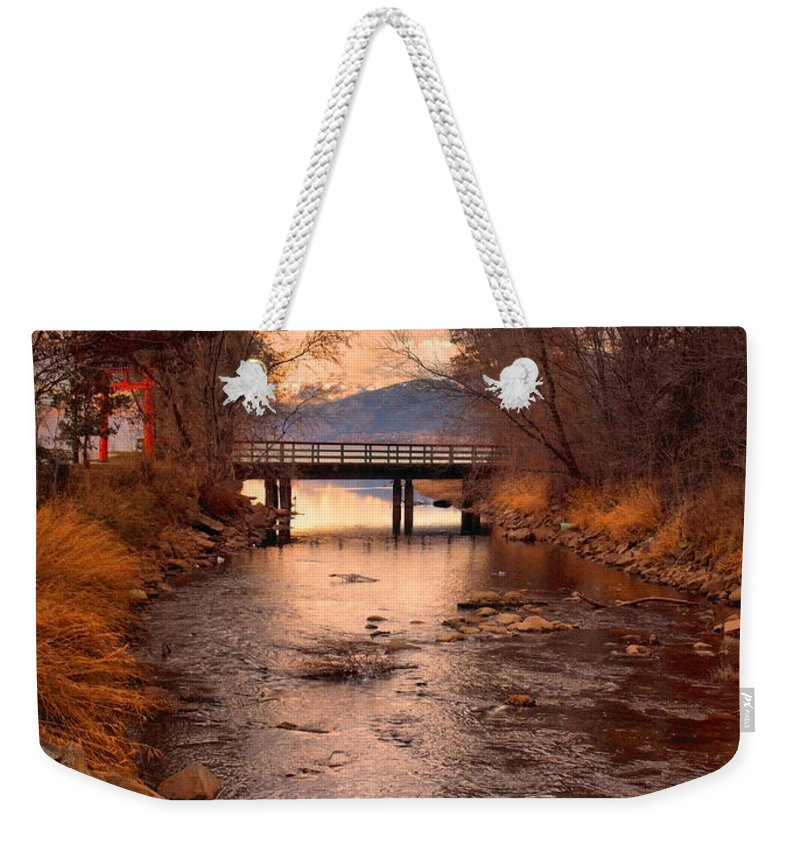 Bridge Weekender Tote Bag featuring the photograph The Bridge By The Lake by Tara Turner