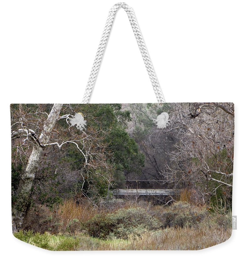 Landscape Weekender Tote Bag featuring the photograph The Bridge by Karen W Meyer