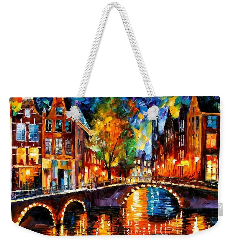 Afremov Weekender Tote Bag featuring the painting The Bridges Of Amsterdam by Leonid Afremov