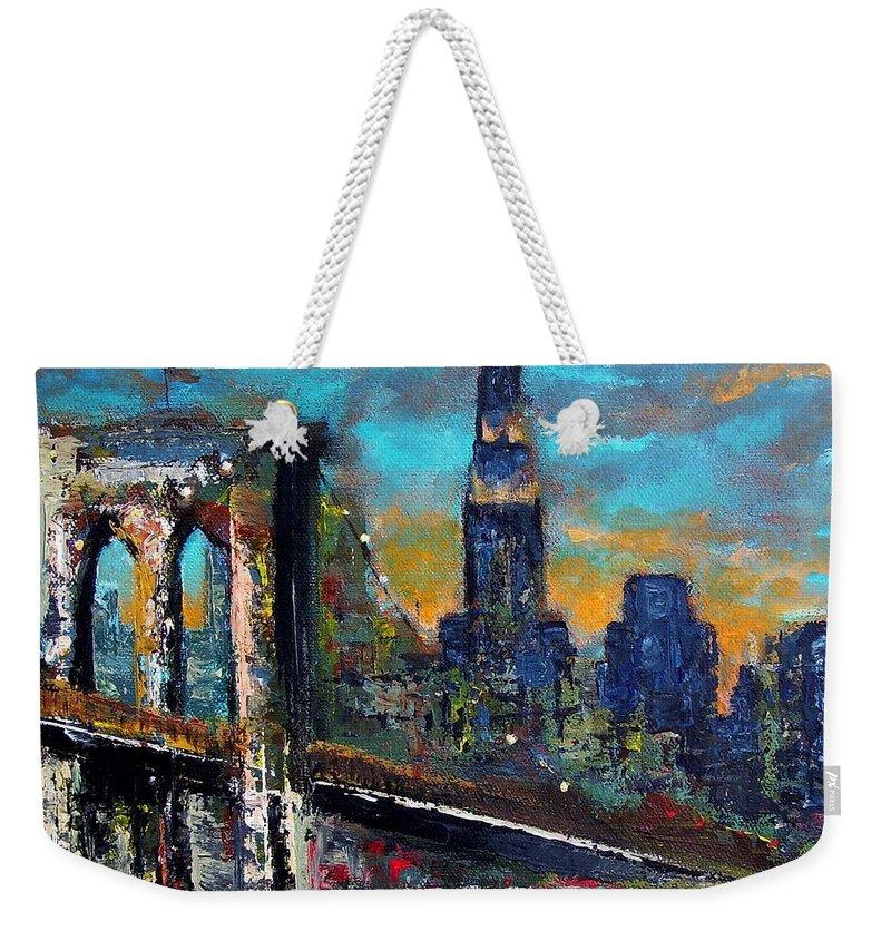 Bridges Weekender Tote Bag featuring the painting The Brooklyn Bridge by Frances Marino