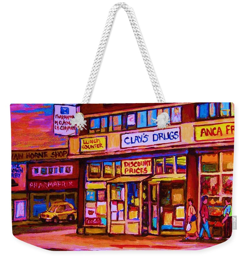 Montreal Weekender Tote Bag featuring the painting The Brown Derby by Carole Spandau