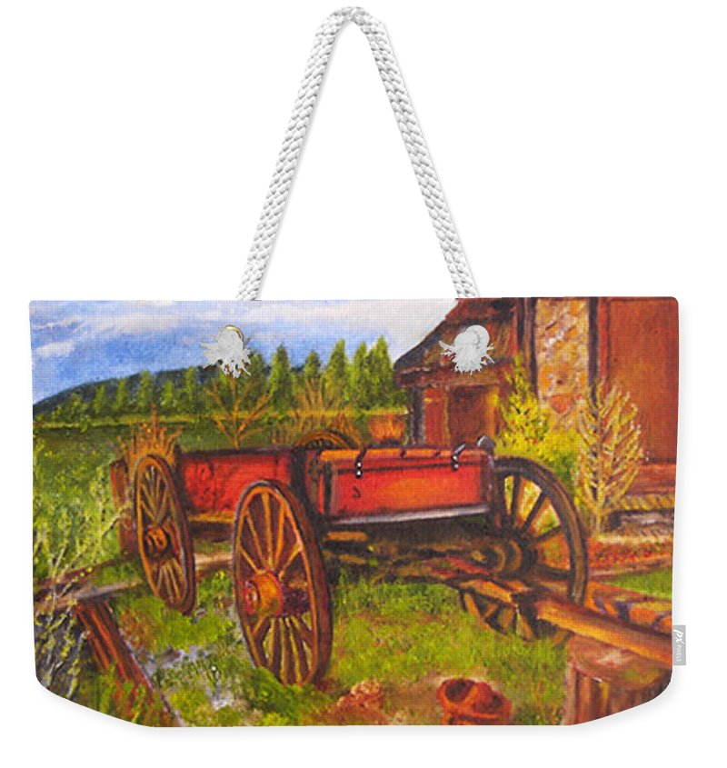 Landscape Weekender Tote Bag featuring the painting The Buggy, 11x14, Oil, '07 by Lac Buffamonti