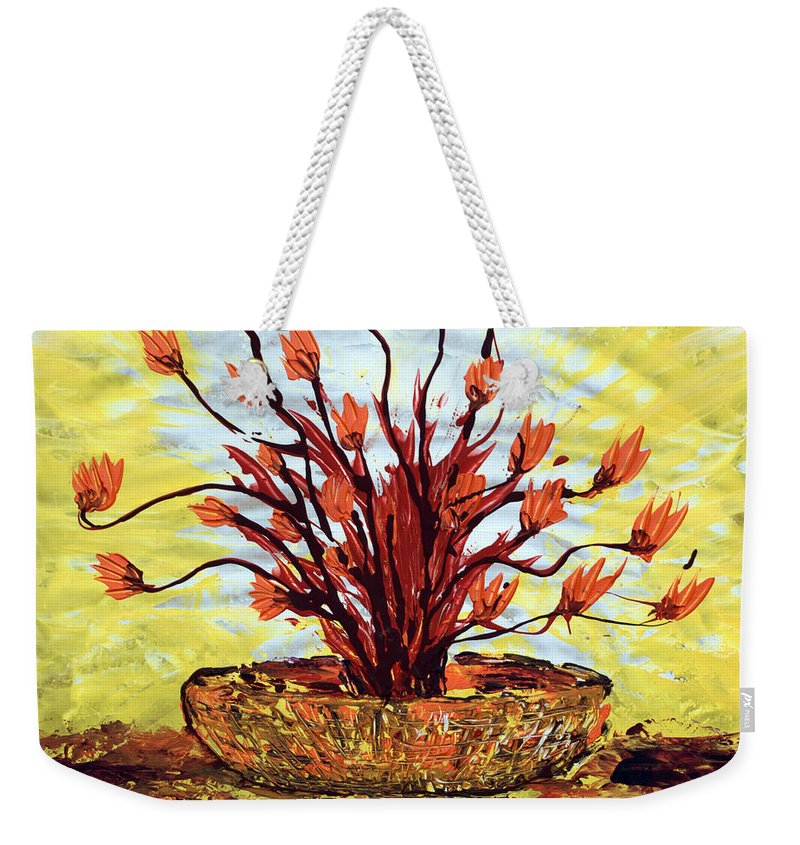 Red Bush Weekender Tote Bag featuring the painting The Burning Bush by J R Seymour