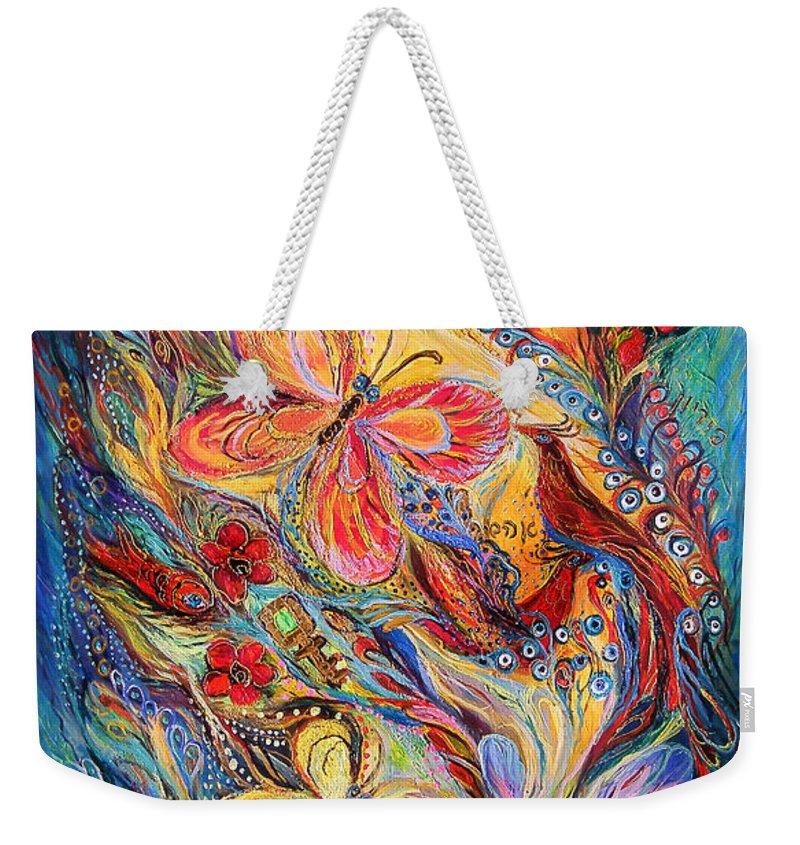 Original Weekender Tote Bag featuring the mixed media The Butterflies by Elena Kotliarker