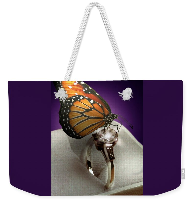 Fantasy Weekender Tote Bag featuring the photograph The Butterfly and the Engagement Ring by Yuri Lev